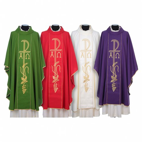 Chasuble in 80% polyester 20% wool, Chi-Rho, Alpha Omega embroid s1