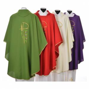 Chasuble in polyester with Chi-Rho and grapes and vine symbols s2