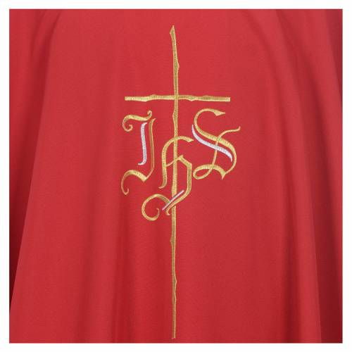 Chasuble in polyester with JHS and cross symbol s5