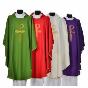 Chasubles: Chasuble in shiny polyester with Chi-Rho