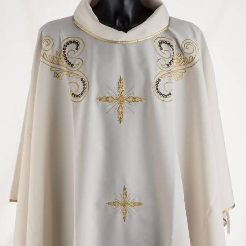Chasuble liturgie, décor doré et croix s2