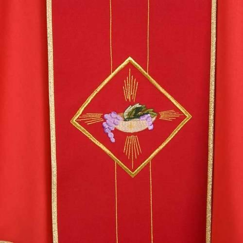 Chasuble liturgique 100% laine, symboles eucharistiques s4