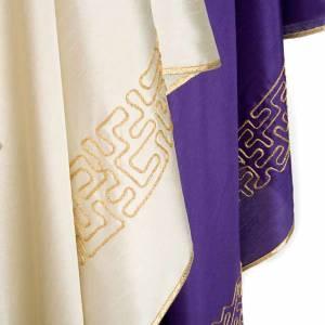 Chasuble liturgique brodée avec croix stylisée dorée s6
