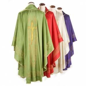 Chasuble liturgique brodée avec croix stylisée dorée s2