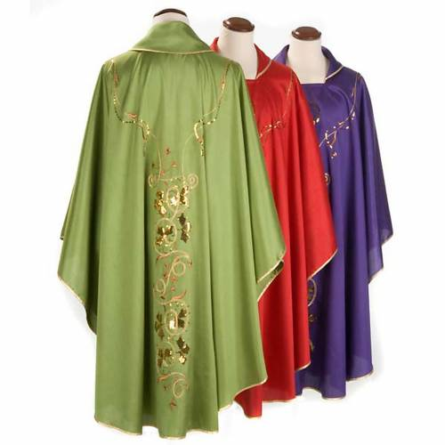 Chasuble liturgique broderie dorée calice Chi-Rho lierre s2