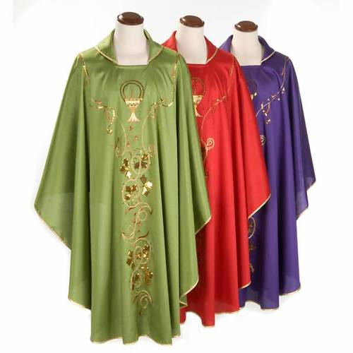 Chasuble liturgique broderie dorée calice Chi-Rho lierre s1
