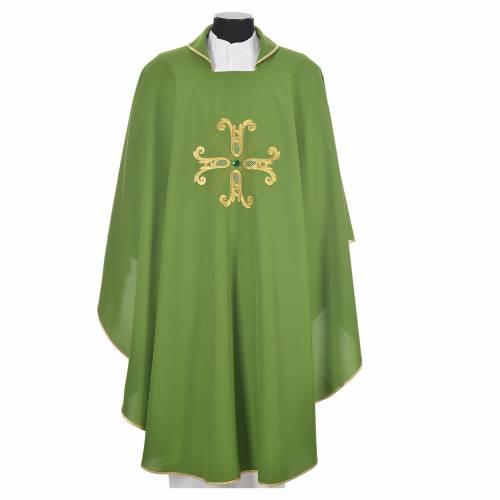 Chasuble liturgique croix dorée et perle verre s6
