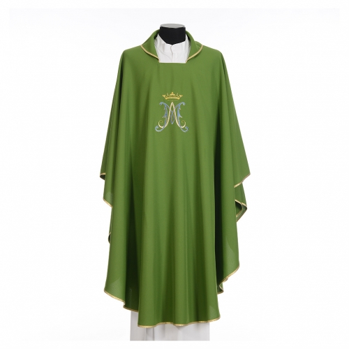 Chasuble Mariale polyester broderie bleue or s11