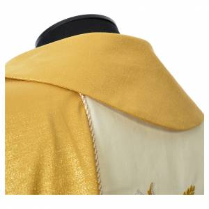 Chasuble or avec bande brodée d'épis 100% laine double retors s6
