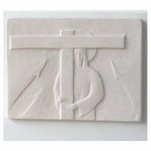 Chemin croix carreaux réguliers travaillés main 34x25 cm 15 stations s5