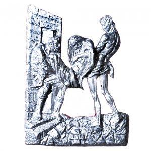 Chemin croix laiton argenté 14 stations 60x50 cm s1