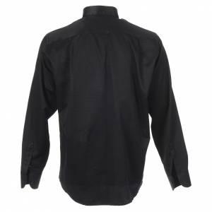 Chemises Clergyman: Chemise clergy jacquard noir manches longues