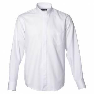 Chemises Clergyman: Chemise clergy ML repassage facile diagonale mix coton blanc
