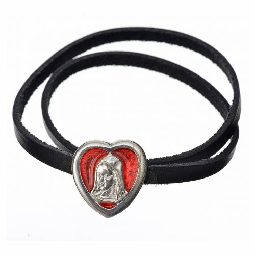 Choker necklace in black leather, Virgin Mary pendant red enamel s1