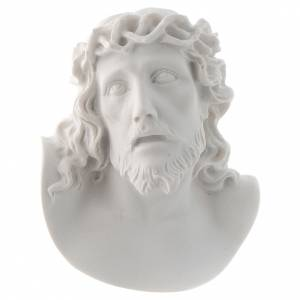 Funeral products: Christ's face, 10 cm bas-relief in reconstituted carrara marble