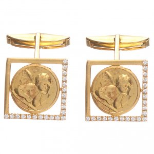 Christian cufflinks with Raphael's Angel, gold-plated 800 silver s3