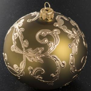 Christmas bauble in gold glass with decorations 10cm s2