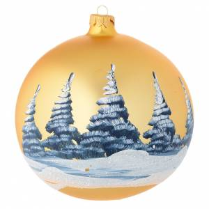 Christmas bauble in golden blown glass with decoupage landscape 150mm s2