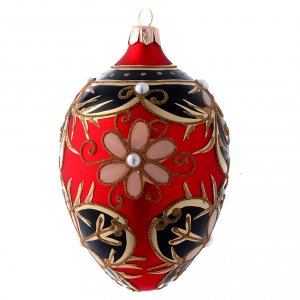 Christmas balls: Christmas bauble red egg shaped 130 mm gold red and black