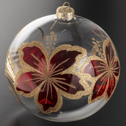 Christmas bauble, transparent blown glass and red flowers 15cm s2