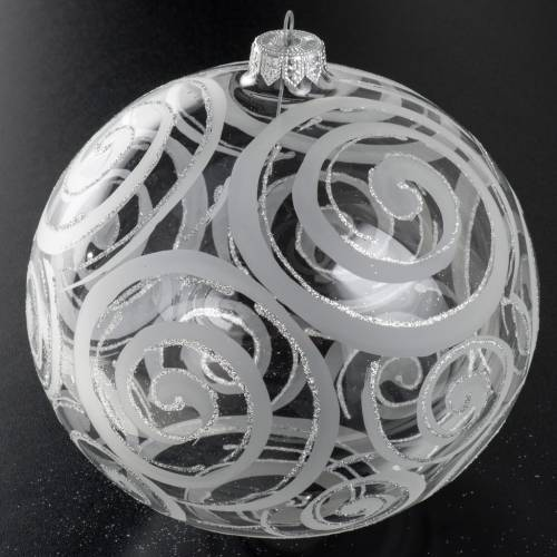 Christmas bauble, transparent glass and decorations, 15cm s2