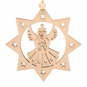 Christmas tree ornaments in wood and pvc: Christmas decoration 8 points star shaped