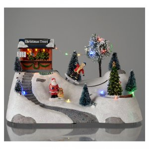 Christmas villages sets: Christmas scene with music and moving green tree 20x30x15 cm