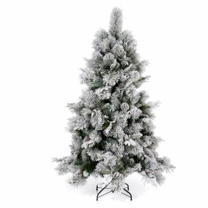 Artificial Christmas trees: Christmas tree 180 cm, flocked Bedford with pine cones