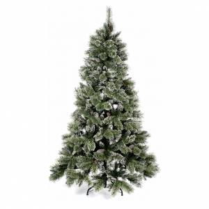 Artificial Christmas trees: Christmas tree 210 cm, green with pine cones Glittery Bristle