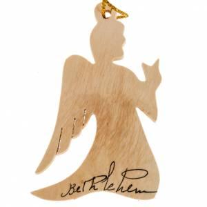 Christmas tree ornaments in wood and pvc: Christmas tree decoration, angel Bethlehem olive wood Holy Land