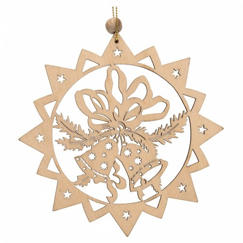 Christmas tree decoration, carved wooden star with bells s1