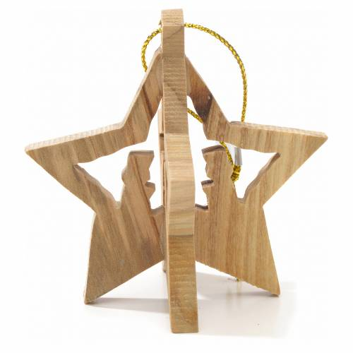 Christmas tree decoration in Holy Land olive wood with star s2