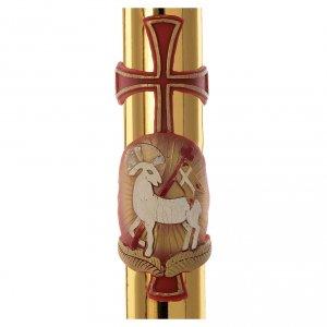 Cierge Pascal Agneau et croix fond doré 8x120cm s2