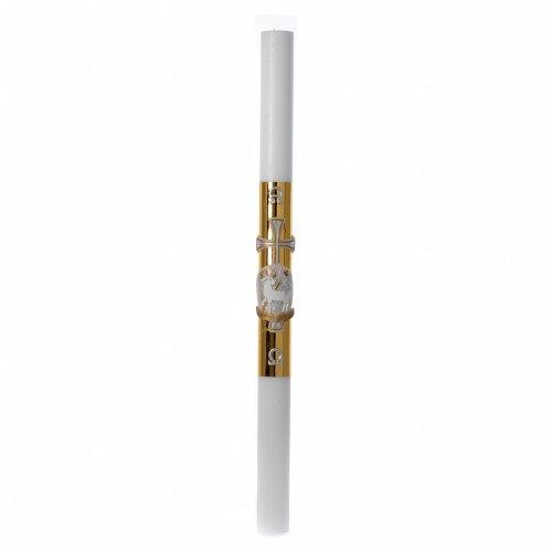 Cierge pascal blanc RENFORT Agneau croix fond doré 8x120cm s3