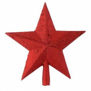 Décorations sapin bois et pvc: Cimier Sapin de Noël étoile paillettes rouges
