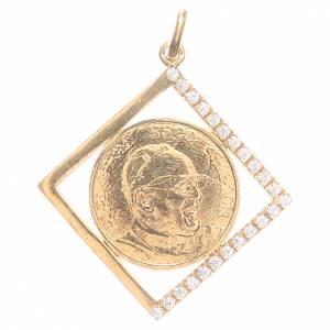 Pendenti, croci, spille, catenelle: Ciondolo argento 800 Papa Francesco 1,8x1,8 cm