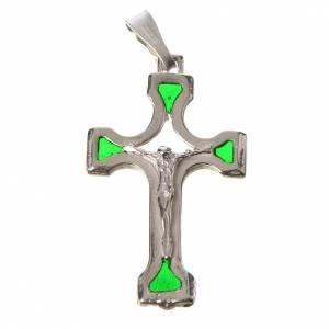 Pendenti, croci, spille, catenelle: Ciondolo croce Argento e smalto verde
