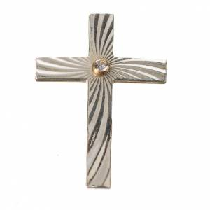 Clergy cross lapel pins: Clergy cross lapel pin in 800 silver with zircon