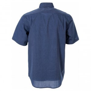 Clergy Shirts: STOCK Clergy shirt in blue fil-a-fil cotton, short sleeves