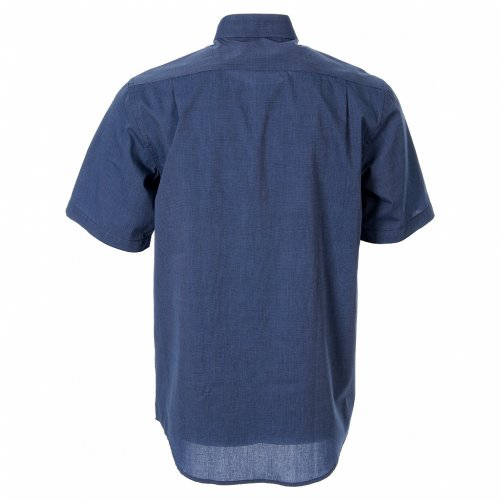 STOCK Clergy shirt in blue fil-a-fil cotton, short sleeves s2