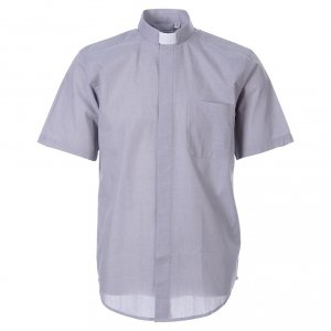 Clergy Shirts: STOCK Clergy shirt in light grey fil-a-fil cotton, short sleeves
