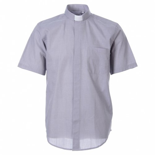 STOCK Clergy shirt in light grey fil-a-fil cotton, short sleeves s1