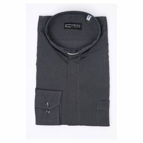 Clergy shirt long sleeves fil-à-fil mixed cotton Grey s3
