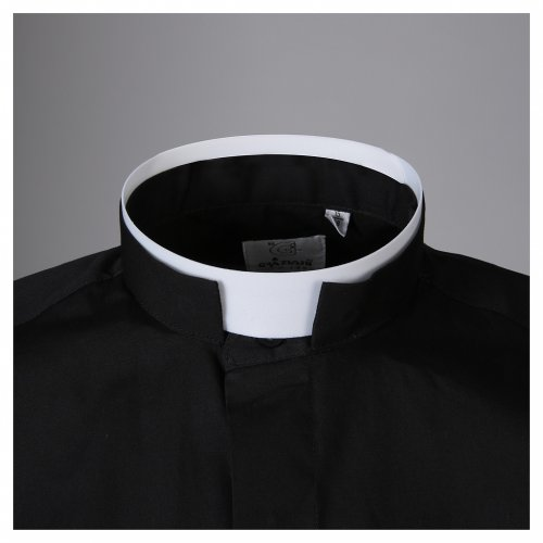 STOCK Clergy shirt, roman collar, long sleeves in black poplin s3