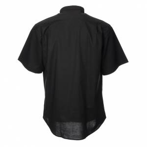 Clergy Shirts: STOCK Clergy shirt, short sleeves in black mixed cotton