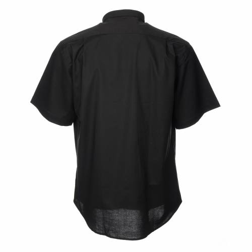 STOCK Clergy shirt, short sleeves in black mixed cotton s2