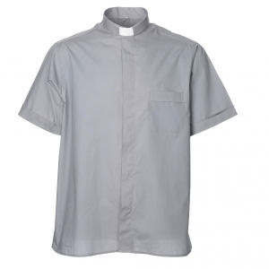 Clergy Shirts: STOCK Clergy shirt, short sleeves in light grey mixed cotton