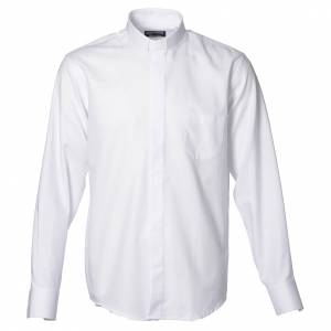 Clergy shirt with long sleeves, easy to iron, white mixed cotton s1