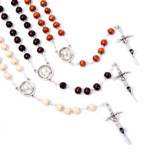 Coconnut-effect rosary with round beads s1