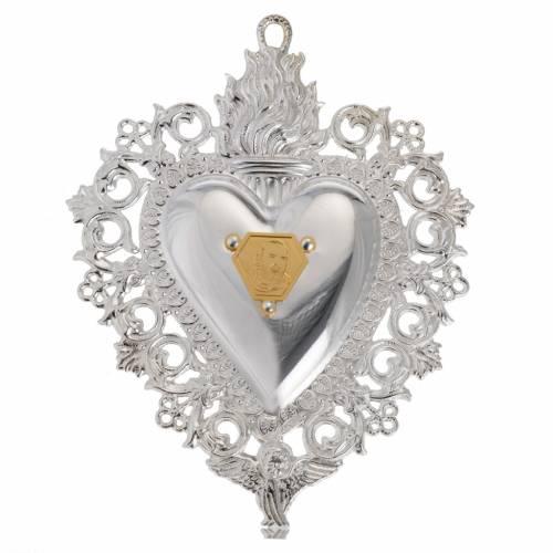 coeur votif Padre Pio 9.5x7.5 cm s1
